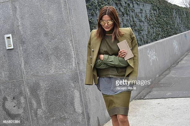 Christine Centenera arrives the Bottega Veneta show during the Milan Fashion Week Autumn/Winter 2015 on February 28 2015 in Milan Italy