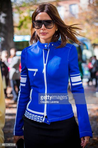 Christine Centenera is seen after the Miu Miu show during Paris Fashion Week Womenswear SS18 on October 3 2017 in Paris France