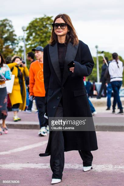 Christine Centenera is seen before the Hermes show during Paris Fashion Week Womenswear SS18 on October 2 2017 in Paris France