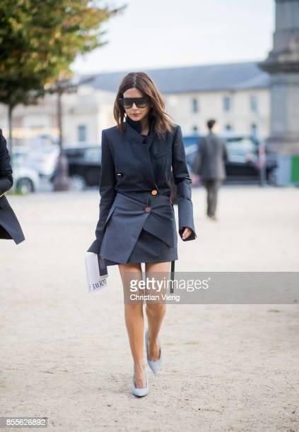 Christine Centenera is seen outside Loewe during Paris Fashion Week Spring/Summer 2018 on September 29 2017 in Paris France