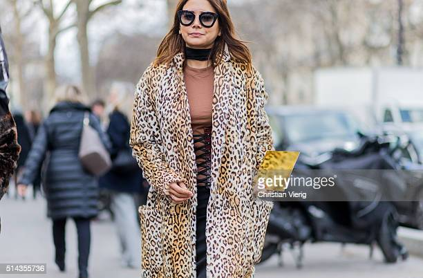 Christine Centenera is wearing a leopard printed coat outside Ellery during the Paris Fashion Week Womenswear Fall/Winter 2016/2017 on March 8 2016...