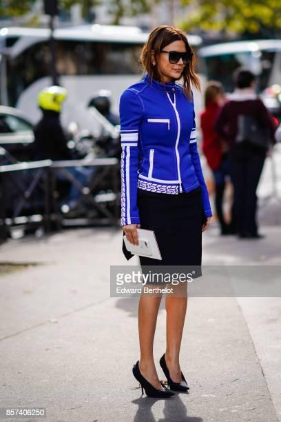 Christine Centenera outside Miu Miu during Paris Fashion Week Womenswear Spring/Summer 2018 on October 3 2017 in Paris France