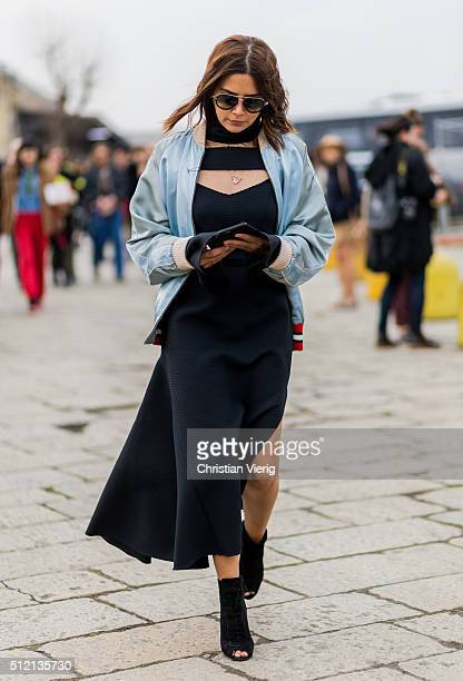 Christine Centenera wearing a babyblue Gucci college jacket seen outside Gucci during Milan Fashion Week Fall/Winter 2016/17 on February 24 2016 in...