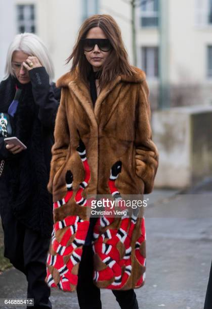 Christine Centenera wearing a brown fur coat from Gucci outside Rochas on March 1 2017 in Paris France