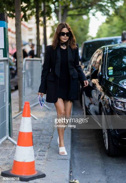 Christine Centenera wearing black dress and blazer outside Fendi during Paris Fashion Week Haute Couture Fall/Winter 20172018 Day Four on July 5 2017...