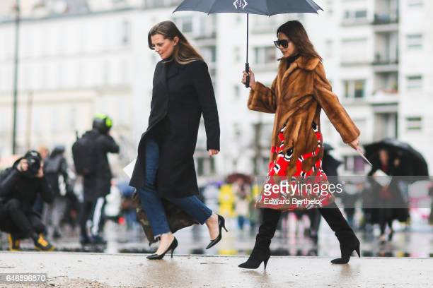 Christine Centenera wears a fur coat outside the Dries Van Noten show during Paris Fashion Week Womenswear Fall/Winter 2017/2018 on March 1 2017 in...