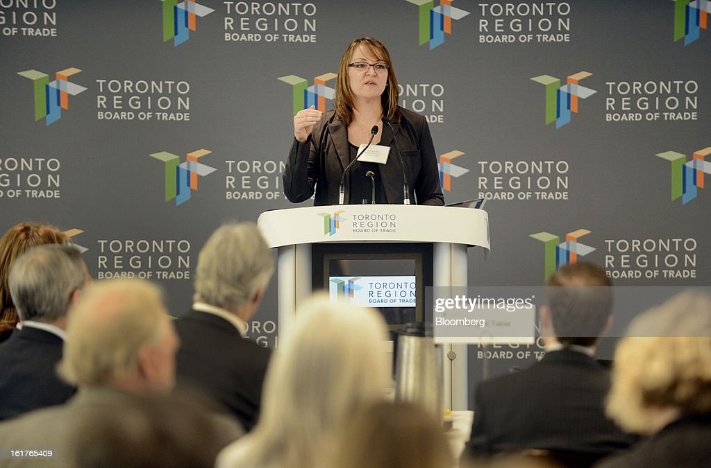 Christine Day, chief executive officer of Lululemon Athletica Inc., speaks during an event at the Toronto Region Board of Trade in Toronto, Ontario, Canada, Friday, on Feb. 15, 2013. Lululemon Athletica Inc., an athletic clothing retailer, produces fitness pants, shorts, tops and jackets for yoga, dance, running, and general fitness. Photographer: Aaron Harris/Bloomberg via Getty Images