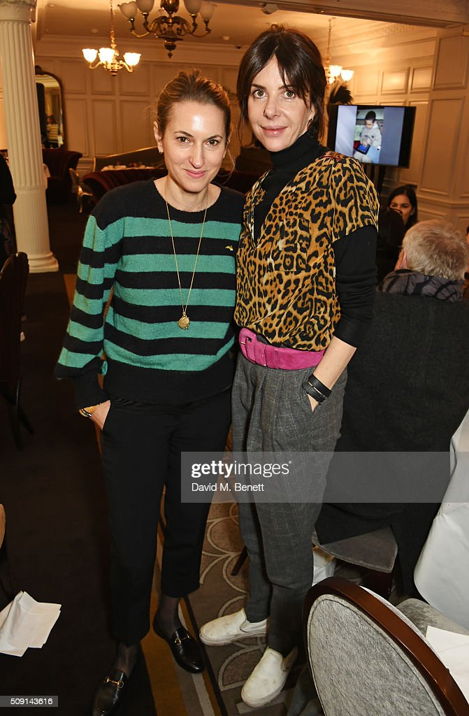 Christine D'ornano (L) and Henrietta Channon attend the Hoping Breakfast for Palestinian refugee children at Harrods on February 9, 2016 in London, England.