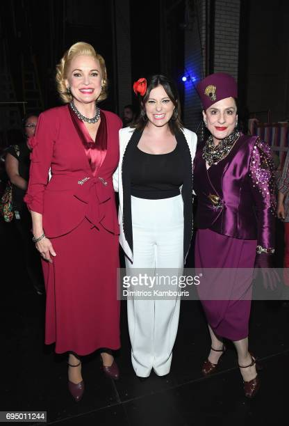 Christine Ebersole Rachel Bloom and Patti Lupone back stage at the 2017 Tony Awards at Radio City Music Hall on June 11 2017 in New York City