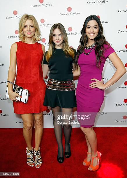 Christine Fernandes Clara Tiezzi and Carol Castro attend the grand opening of luxury Brazilian brand Carmen Steffens' US Flagship store on August 2...