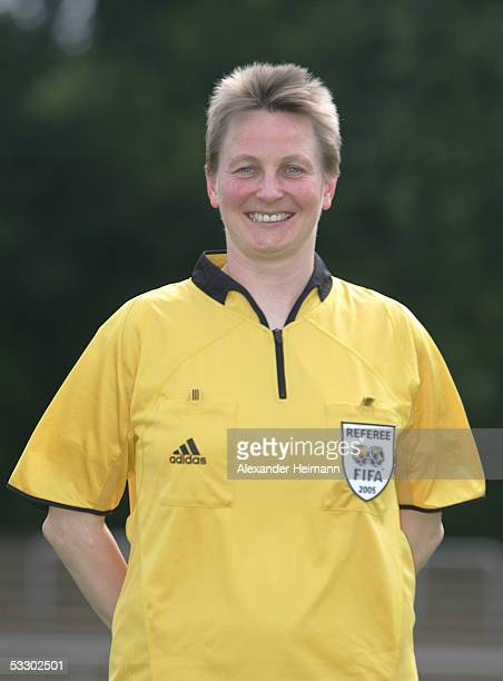 Christine Frai poses during the German Football Federation referee seminar on July 29 2005 in Neu Isenburg near Frankfurt Germany