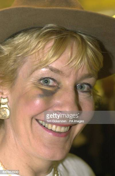 Christine Hamilton the wife of former Tory MP Neil Hamilton at London's Heathrow Airport after returning from Australia where she had been competing...