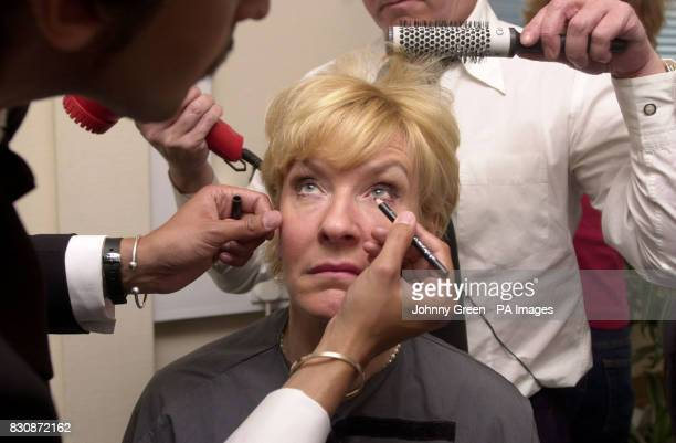 Christine Hamilton undergoes a makeover inside London Television Centre south London in an attempt to transform her into a Victoria Beckham lookalike...