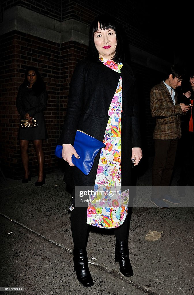 Christine Higginbotham seen outside the Marc Jacobs show wearing Marc Jacobs spring 08 outfit on February 14, 2013 in New York City.
