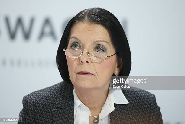 Christine HohmannDennhardt member of the Supervisory Board of German automaker Volkswagen AG attends the company's annual press conference on April...