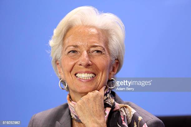 Christine Lagarde director of the International Monetary Fund attends a press conference in the German federal Chancellery on April 5 2016 in Berlin...