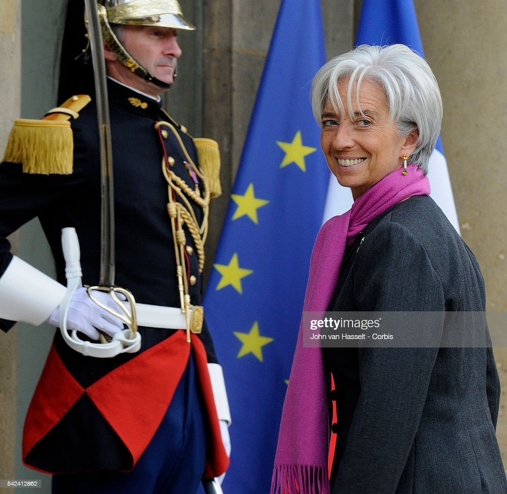 Christine Lagarde French Minister of Finance enters Elysee Palace