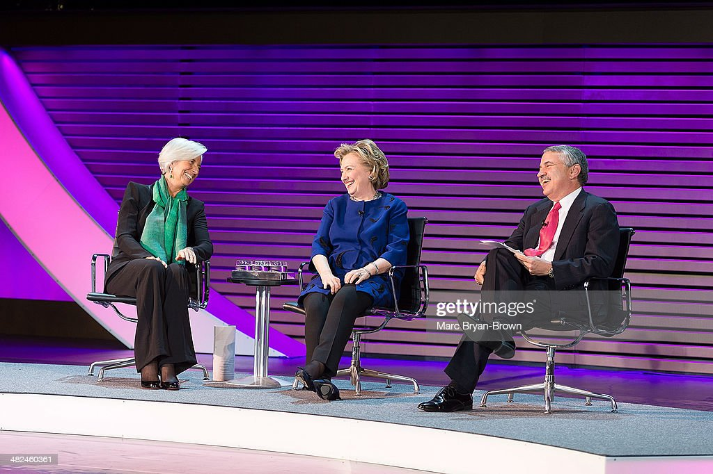 Christine Lagarde, Hillary Rodham Clinton, and Thomas L. Friedman, attend the 5th Annual Women In The World Summit at David H. Koch Theater, Lincoln Center on April 3, 2014 in New York City.