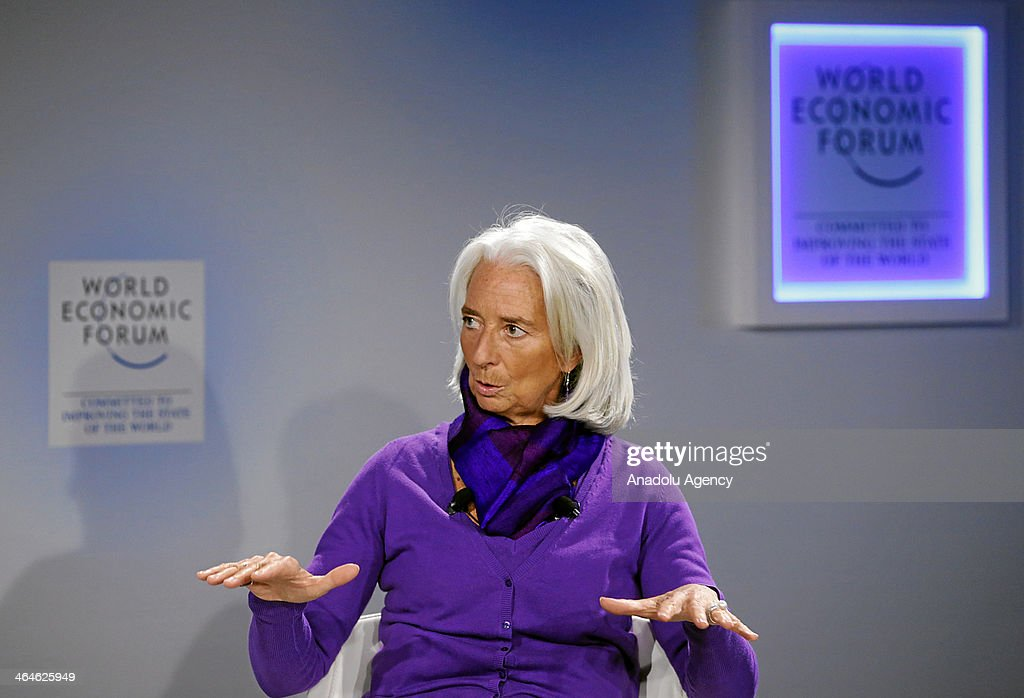 Christine Lagarde , Managing Director of International Monetary Fund (IMF) and World Economic Forum Foundation Board Member gestures during the interview by Francine Lacqua, Editor-at-Large and Presenter, Bloomberg Television, United Kingdom during the session 'An Insight, An Idea with Christine Lagarde' at the Annual Meeting 2014 of the World Economic Forum at the congress centre in Davos, Switzerland on January 23, 2014.