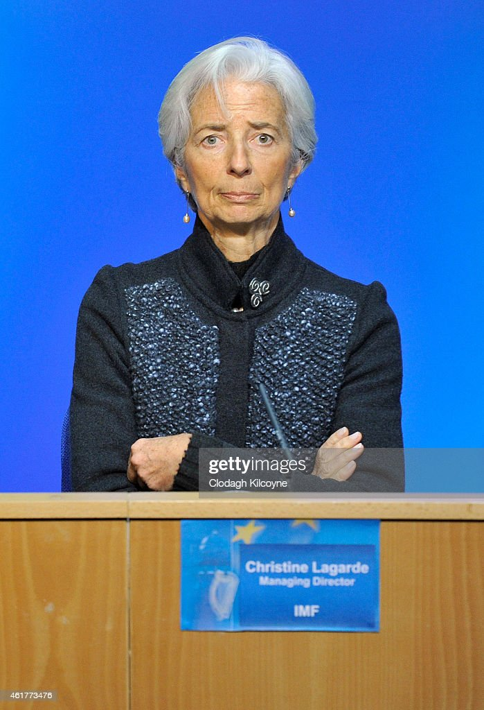 <a gi-track='captionPersonalityLinkClicked' href=/galleries/search?phrase=Christine+Lagarde&family=editorial&specificpeople=566337 ng-click='$event.stopPropagation()'>Christine Lagarde</a> , Managing Director of the IMF (International Monetary Fund) meets with the Irish Minister for Finance, Michael Noonan at Government buildings on January 19, 2015 in Dublin, Ireland.