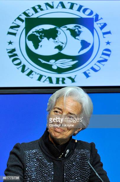Christine Lagarde Managing Director of the IMF meets with the Irish Minister for Finance Michael Noonan at Government buildings on January 19 2015 in...