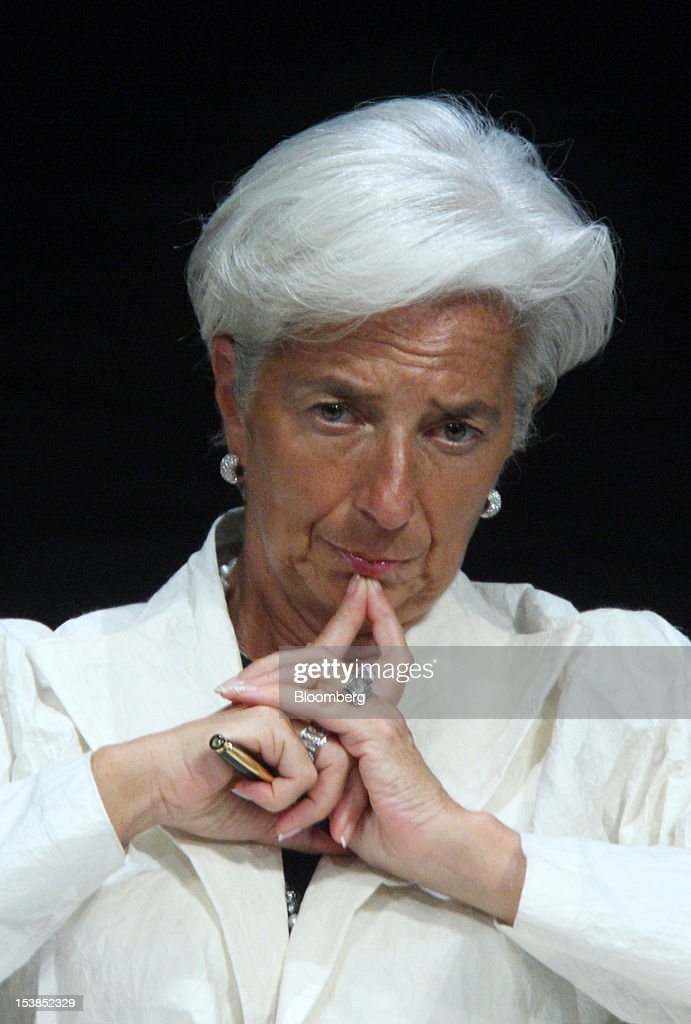 <a gi-track='captionPersonalityLinkClicked' href=/galleries/search?phrase=Christine+Lagarde&family=editorial&specificpeople=566337 ng-click='$event.stopPropagation()'>Christine Lagarde</a>, managing director of the International Monetary Fund (IMF), attends a panel discussion at the Sendai Dialogue on the sidelines of the Annual Meetings of the International Monetary Fund (IMF) and the World Bank Group in Sendai City, Miyagi Prefecture, Japan, on Wednesday, Oct. 10, 2012. The world's finance ministers and central bank governors are gathering this week in Tokyo for the annual meetings of the IMF and the World Bank as the rebound from the deepest global recession since World War II stagnates. Photographer: Tomohiro Ohsumi/Bloomberg via Getty Images
