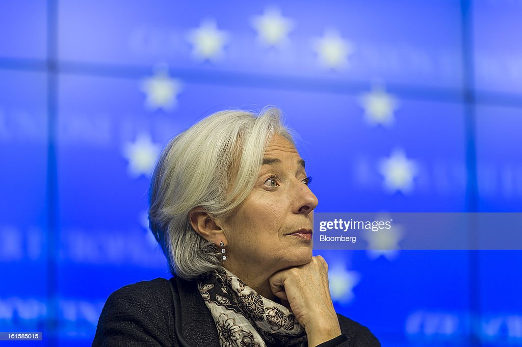 <a gi-track='captionPersonalityLinkClicked' href=/galleries/search?phrase=Christine+Lagarde&family=editorial&specificpeople=566337 ng-click='$event.stopPropagation()'>Christine Lagarde</a>, managing director of the International Monetary Fund (IMF), attends a news conference following the Eurogroup meeting in Brussels, Belgium, on Monday, March 25, 2013. Cyprus agreed to the outlines of an international bailout, paving the way for 10 billion euros ($13 billion) of emergency loans and eliminating the threat of default. Photographer: Jock Fistick/Bloomberg via Getty Images