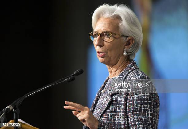 Christine Lagarde managing director of the International Monetary Fund delivers a speech during an event marking the 20th anniversary of the IMF's...
