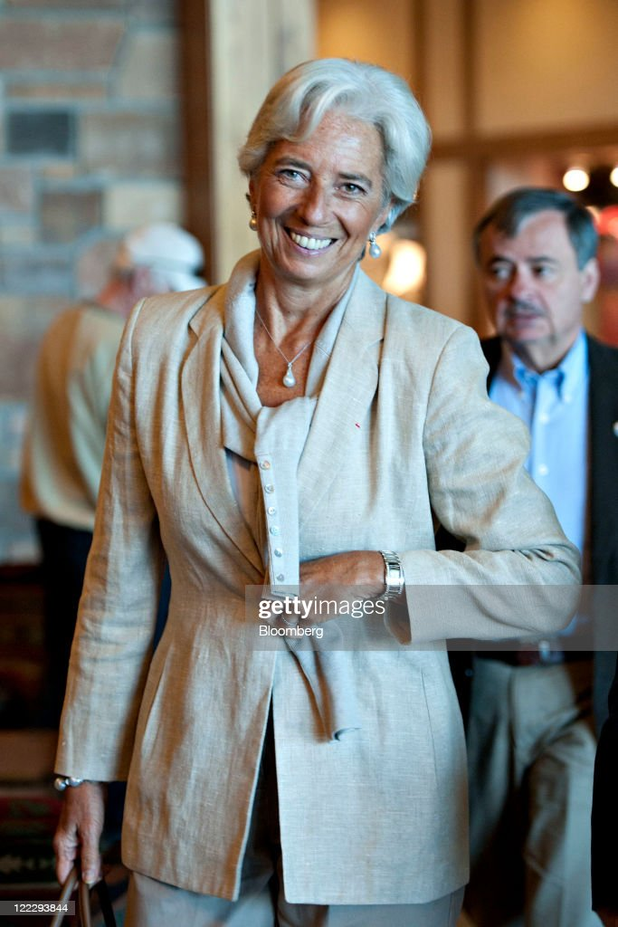 <a gi-track='captionPersonalityLinkClicked' href=/galleries/search?phrase=Christine+Lagarde&family=editorial&specificpeople=566337 ng-click='$event.stopPropagation()'>Christine Lagarde</a>, managing director of the International Monetary Fund (IMF), arrives for a session during an economic symposium sponsored by the Kansas City Federal Reserve Bank in Moran, Wyoming, U.S., on Saturday, Aug. 27, 2011. U.S. Federal Reserve Chairman Ben S. Bernanke said at the symposium yesterday that the central bank still has tools to stimulate the economy without providing details or signaling when or whether policy makers might deploy them. Photographer: Daniel Acker/Bloomberg via Getty Images