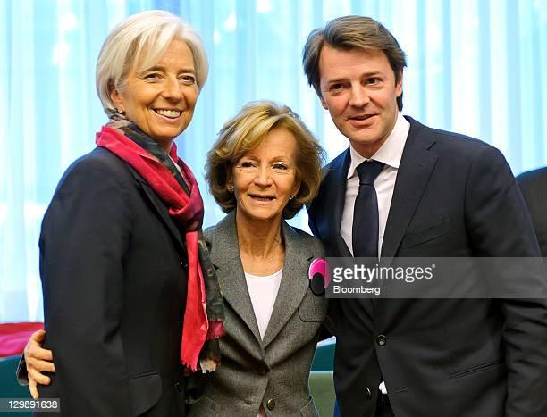 Christine Lagarde managing director of the International Monetary Fund left Elena Salgado Spain's finance minister center and Francois Baroin...