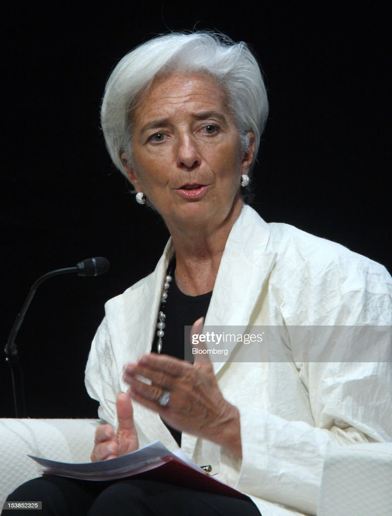 <a gi-track='captionPersonalityLinkClicked' href=/galleries/search?phrase=Christine+Lagarde&family=editorial&specificpeople=566337 ng-click='$event.stopPropagation()'>Christine Lagarde</a>, managing director of the International Monetary Fund (IMF), speaks during a panel discussion at the Sendai Dialogue on the sidelines of the Annual Meetings of the International Monetary Fund (IMF) and the World Bank Group in Sendai City, Miyagi Prefecture, Japan, on Wednesday, Oct. 10, 2012. The world's finance ministers and central bank governors are gathering this week in Tokyo for the annual meetings of the IMF and the World Bank as the rebound from the deepest global recession since World War II stagnates. Photographer: Tomohiro Ohsumi/Bloomberg via Getty Images