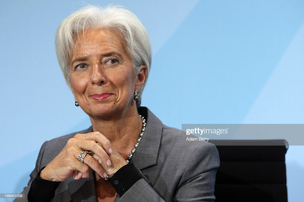 Christine Lagarde, managing director of the International Monetary Fund (IMF), listens at a news conference after a meeting on October 30, 2012 at the German federal chancellery in Berlin, Germany. Merkel met with the heads of five international financial and economic bodies to discuss the global economic outlook as well as the situation in Europe in particular, concentrating on policies to improve competitiveness, trade and development.