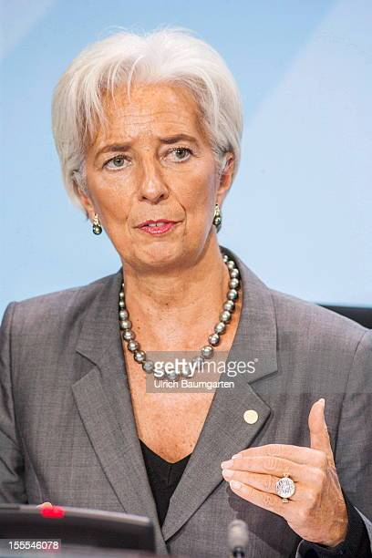 Christine Lagarde Managing Director of the International Monetary Fund IWF during the press conference in the federal chancellory on October 30 2012...