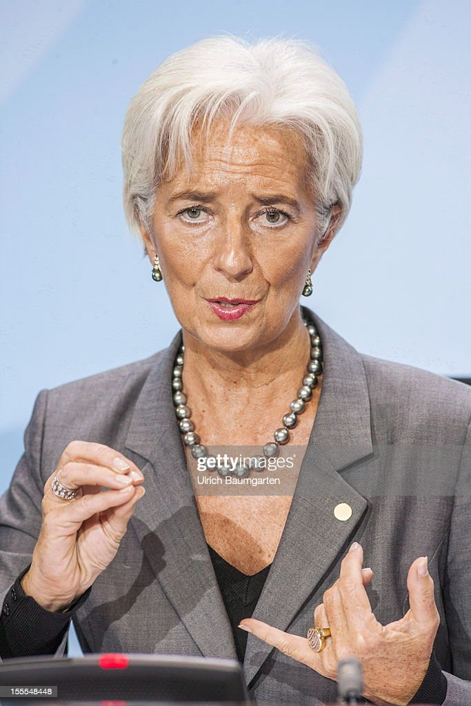 Christine Lagarde, Managing Director of the International Monetary Fund, IWF, during the press conference in the federal chancellory on October 30, 2012 in Berlin, Germany.