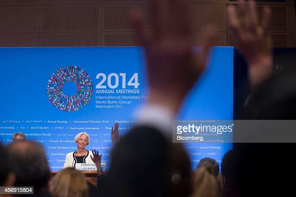 Christine Lagarde managing director of the International Monetary Fund waits for a question from members of the media at a news conference during the...