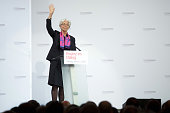 Christine Lagarde managing director of the International Monetary Fund gestures during a panel session at the Hofburg Palace in Vienna Austria on...