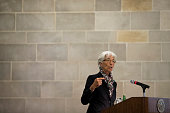 Christine Lagarde Managing Director of the International Monetary Fund speaks at the Federal Reserve Bank of New York July 18 2016 in New York City...