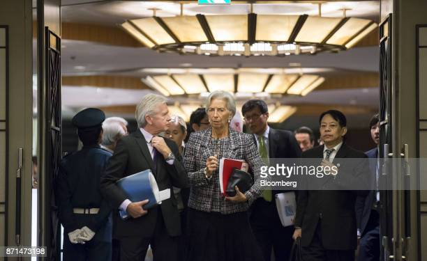 Christine Lagarde managing director of the International Monetary Fund center and Masatsugu Asakawa vice minister for international affairs at...