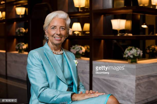 Christine Lagarde managing director of the International Monetary Fund poses for a photograph following a Bloomberg Television interview at the...