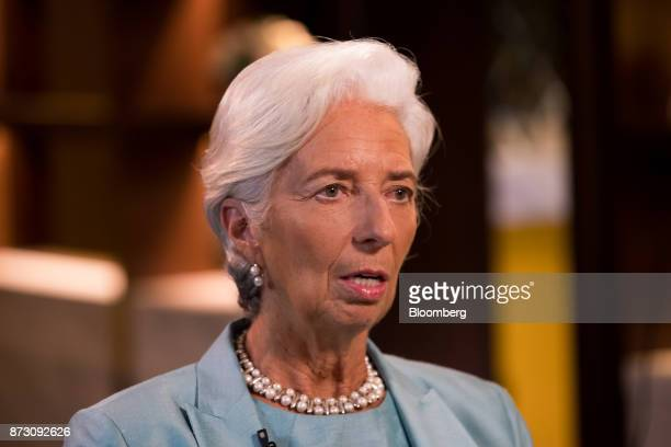 Christine Lagarde managing director of the International Monetary Fund speaks during a Bloomberg Television interview at the AsiaPacific Economic...