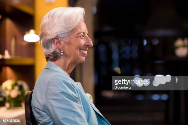 Christine Lagarde managing director of the International Monetary Fund reacts during a Bloomberg Television interview at the AsiaPacific Economic...