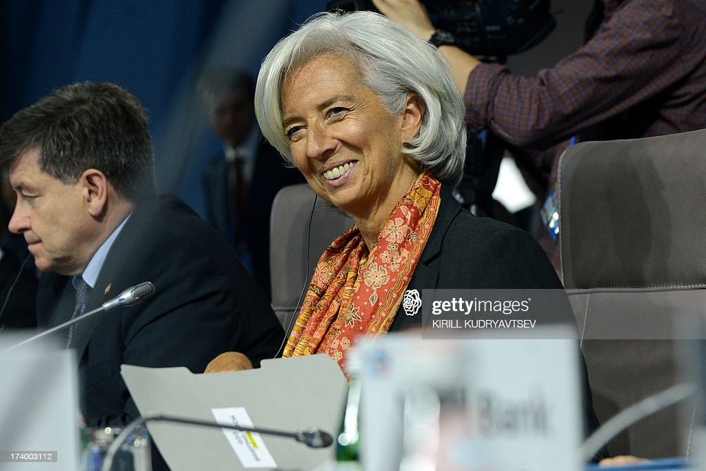 Christine Lagarde, the Managing Director of International Monetary Fund (IMF), attends the plenary session during the G20 Finance Ministers and Central Bank Governors' meeting in Moscow on July 19, 2013. Finance ministers and central bankers from G20 countries meet for a two-day meeting on Friday seeking to intensify the battle against tax evasion and prevent a new global slowdown.