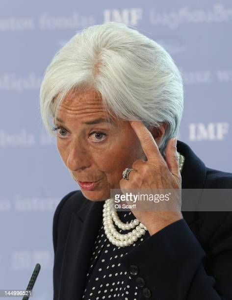 Christine Lagarde the Managing Director of the International Monetary Fund addresses a press conference in the Treasury on May 22 2012 in London...