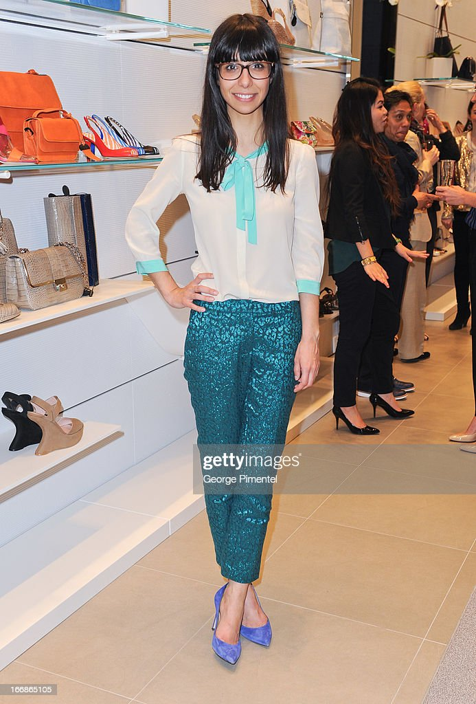 Christine Loureiro attends the opening of the Stuart Weitzman Boutique on April 17, 2013 in Toronto Ontario Canada.