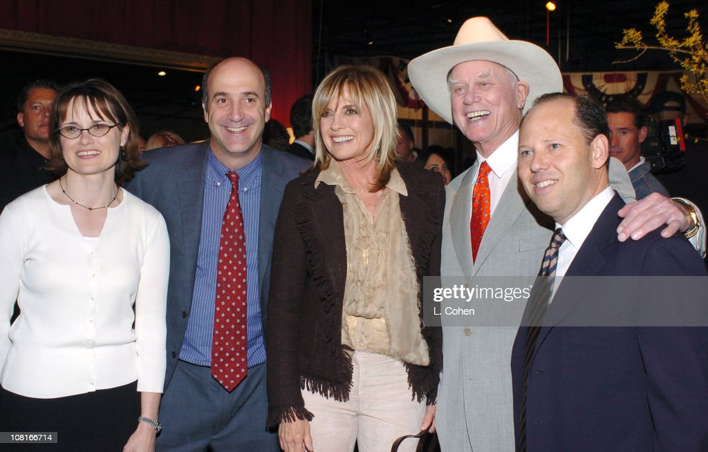 Christine Martinez, Jeff Brown and Ron Sanders, Warner Bros. executives, with Linda Gray (center) and Larry Hagman