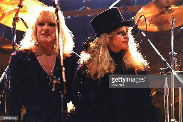 Christine McVie and Stevie Nicks of Fleetwood Mac perform on stage at Wembley Arena on May 18th 1988 in London United Kingdom