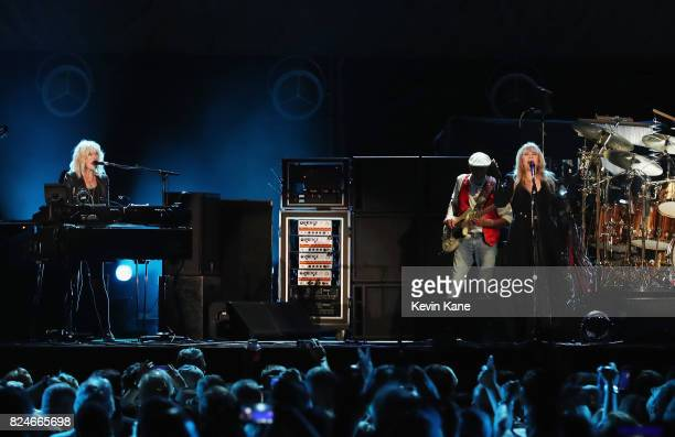 Christine McVie John McVie and Stevie Nicks of Fleetwood Mac perform onstage during The Classic East Day 2 at Citi Field on July 30 2017 in New York...