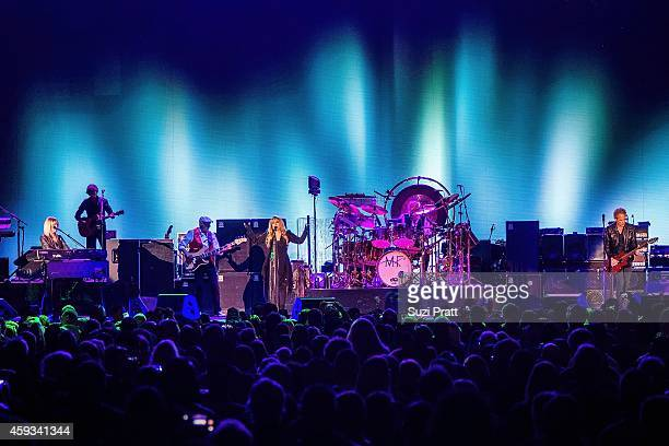 Christine McVie John McVie Stevie Nicks Mick Fleetwood and Lindsey Buckingham of Fleetwood Mac perform at the Tacoma Dome on November 20 2014 in...