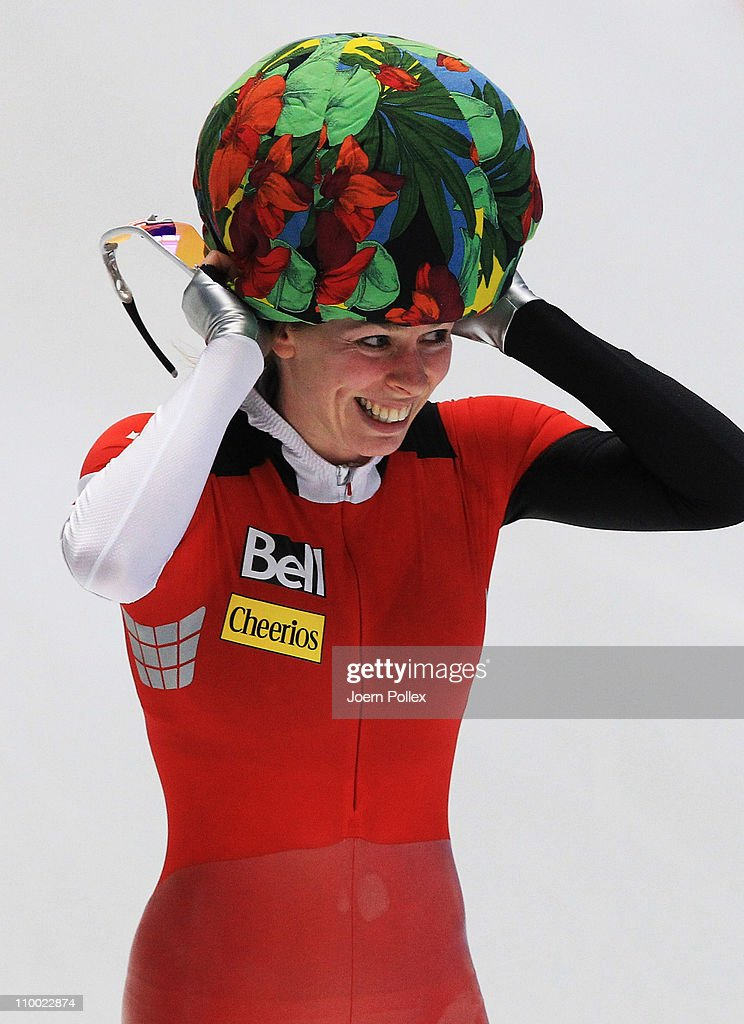 <a gi-track='captionPersonalityLinkClicked' href=/galleries/search?phrase=Christine+Nesbitt&family=editorial&specificpeople=767742 ng-click='$event.stopPropagation()'>Christine Nesbitt</a> of Canada celebrates after the 1000m heats during Day 3 of the Essent ISU Speed Skating World Cup at the Max Aicher Arena on March 12, 2011 in Inzell, Germany.