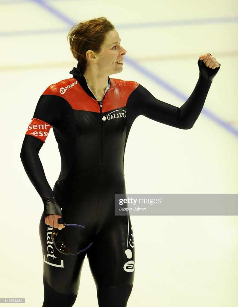 <a gi-track='captionPersonalityLinkClicked' href=/galleries/search?phrase=Christine+Nesbitt&family=editorial&specificpeople=767742 ng-click='$event.stopPropagation()'>Christine Nesbitt</a> of Canada celebrates as she crosses the finishline in the fastest time during her 1000m race at the Essent ISU World Single Distances Championship Speed Skating at the Thialf Stadium on March 24, 2012 in Heerenveen, Netherlands.